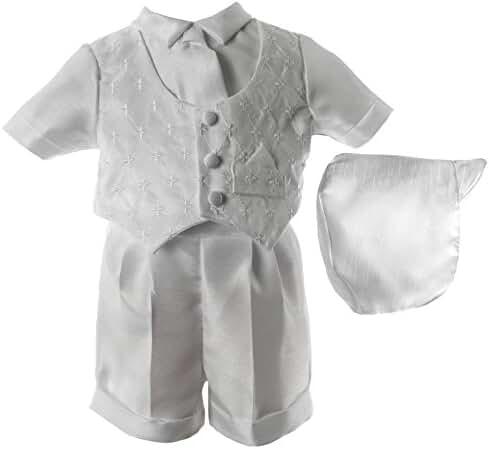 Lauren Madison Baby Boys' Christening Baptism 3 Piece Shantung Short Set Outfit
