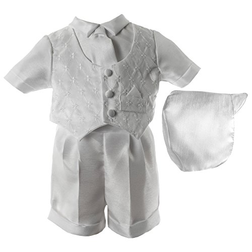 Lauren Madison Baby Boys' Christening Baptism 3 Piece Shantung Short Set Outfit, White, 9-12 Months