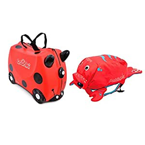 Trunki Original Kids Ride-On Suitcase and Carry-On Luggage with PaddlePak Water-Resistant Backpack Bundle, Red