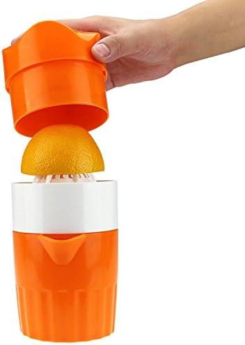 DZWJ Manual de exprimidor de cítricos, exprimidor de limón Naranja Exprimidor de rotación de Tapa con colador y Recipiente