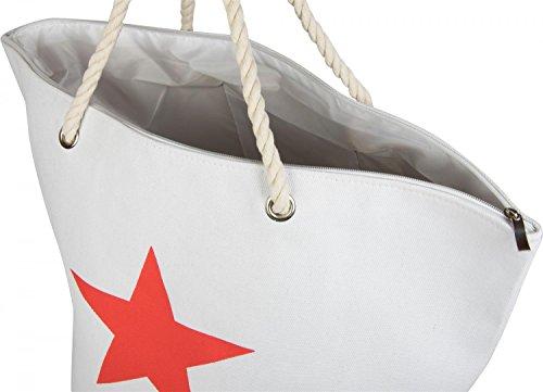 styleBREAKER Bolsa de tela y de playa Hueso Weiß (Creme-Weiß) talla única blanco