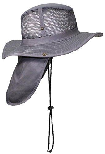 Mesh Flap Hat - Tropic Hats Packable Wide Brim Mesh Safari/Outback W/Neck Flap & Snap up Sides - Gray XL