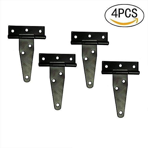 T&B T-Strap Shed Hinge Gate Strap Hinge Door Barn Gates Hinges Black Wrought Hardware Iron Rustproof 4PCS (4inch) (Iron Doors Gates)
