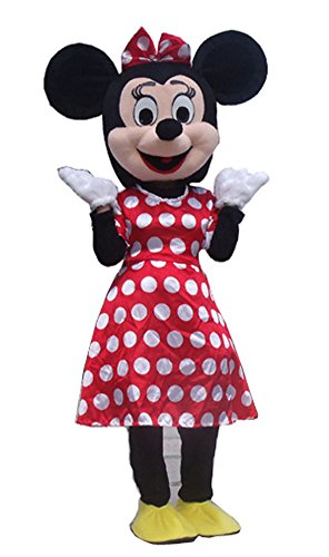 JWUP Red Minnie Mouse Mascot Costumes for Adults - Youth Alice In Wonderland Costume