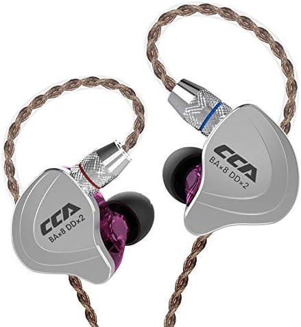 CCA C10 Cinco Conductores 4BA 1DD Auriculares híbridos 4 equilibrados y 1 dinámico CCA audifonos con Cable de Repuesto de 2 Pines (Morado no Mic)