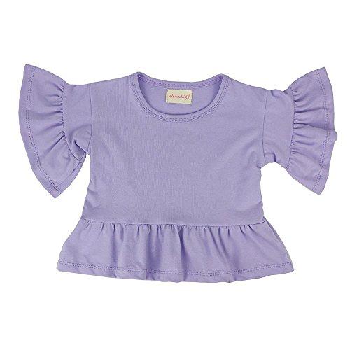 Wennikids Little Girls' Double Ruffle Solid Tank Top T-Shirt Short Sleeve Large Lavender 01