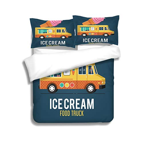 (MTSJTliangwan Duvet Cover Set Ice Cream Food Truck 3 Piece Bedding Set with Pillow Shams, Queen/Full, Dark Orange White Teal Coral)