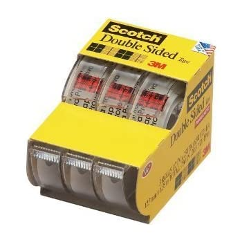 6 Pack of Scotch Permanent Double Sided Tape, 1/2 x 250 Inches 3-Pack Caddy(3136) = to 18