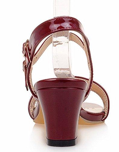 Rouges Deux Talon Boucles Moyen Aisun Chaussures Sandales Femmes Nouvelles Carré AvxznOwq7