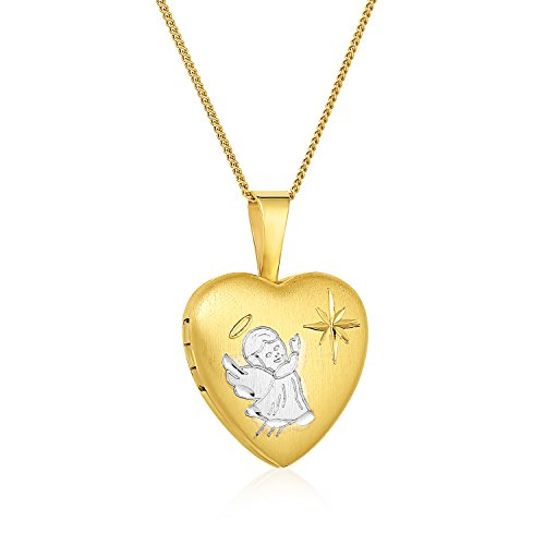 Regetta Jewelry Gold Plated Silver Two-Tone Hand-Engraved Little Angel Heart Locket Necklace, 18