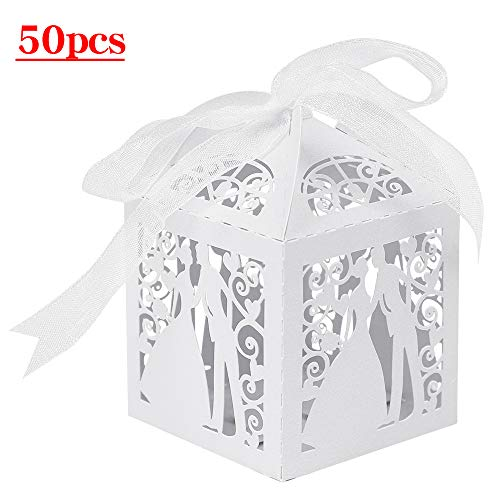 - Lucky Monet 25/50/100PCS Bride and Groom Laser Cut Wedding Favor Boxes Lovers Couple Design Candy Gift Box Chocolate Box with Ribbon (50pcs, White)