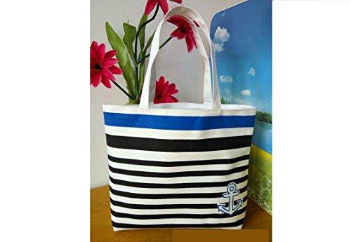 Blu Stile Modo Borsa Marino Di Spalla Tela Kimberleystore Bag Shopping Strisce qtSwqE