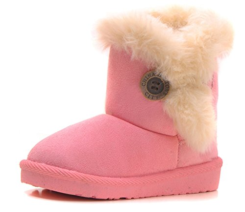 IOO Baby Girls Boys Plush-Filled Bailey Button Snow Boots Warm Winter Flat Shoes (Toddler/Little Kid)