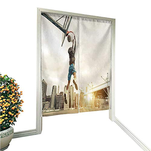 aolankaili Linen Cotton Door Curtainbasketbstreet Player mak a Rear slam Dunk New York Noren Doorway Curtain Tapestry 36
