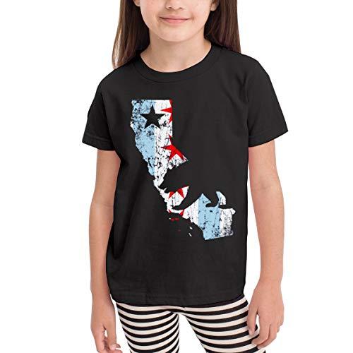 Smooffly Kids Vintage California Chicago Bear Girls&Boys Casual Crew Neck Short Sleeves Shirts ()