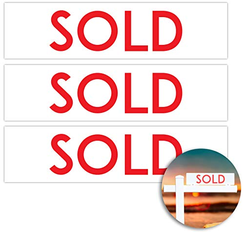 (Sold X 3 Metal Real Estate Sign Riders: Aluminum, Double Sided, Premium and Professional)