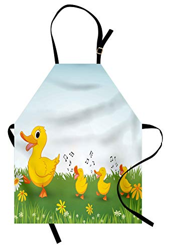 (Ambesonne Cartoon Apron, Mother Duck and Babies Walking and Singing on The Meadow with Flowers, Unisex Kitchen Bib with Adjustable Neck for Cooking Gardening, Adult Size, Mustard Blue)