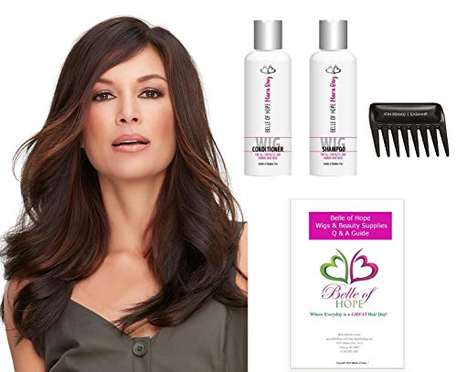 Top Full 18 inch - Hand Tied Double Mono Synthetic Clip-In Hair Piece by Jon Renau, Wide Tooth Comb, Mara Ray 4oz Luxury Shamp & Cond,19 Page Belle of Hope (Jon Renau Hairpieces)