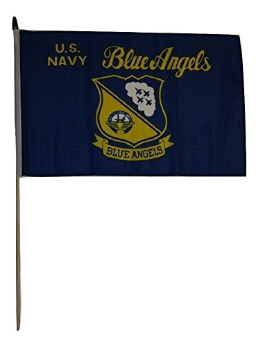ALBATROS 12 inch x 18 inch U.S. Navy Blue Angels Stick Flag with Wood Staff for Home and Parades, Official Party, All Weather Indoors Outdoors