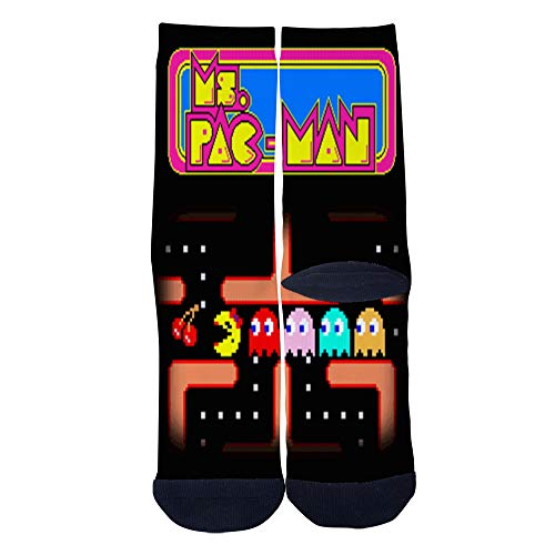 Unisex Adult Ms. Pac-Man 80s Socks, Sizes 6-8, 8-12