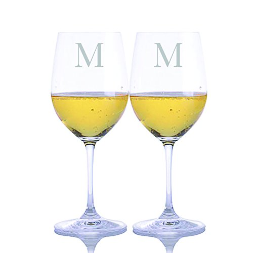 Personalized Riedel Crystal Vinum Viognier Chardonnay White Wine Glass 2pc. Set Engraved & Monogrammed - Great Holiday & Christmas Gift! (Gift Chardonnay Wine)