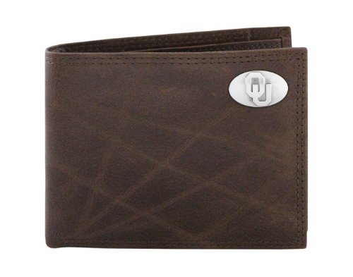 NCAA Oklahoma Sooners Brown Wrinkle Leather Bifold Concho Wallet, One Size