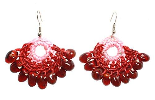 [Bijoux de Ja Handmade Two Tone Glass Beads Crochet Drop Dangling Earrings] (Homemade Elephant Costume Ears)