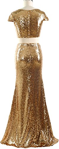 Mermaid Dunkelgrun Cap Two Maxi Piece Women Sequin Dress Prom Gown Sleeves MACloth Formal aRx5qSn6