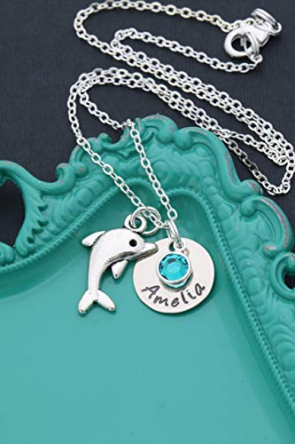 Personalized Dolphin Necklace - DII AAA - Girls Gift Beach Jewelry - Handstamped 5/8 Inch 15MM Disc - Custom Nameplate Choose Birthstone
