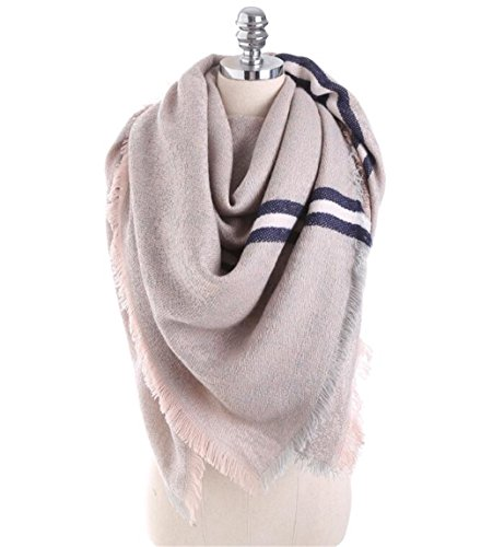 Chic-Dona Autumn Winter Scarf Women Solid Color Stitching Cashmere Blanket Warm Scarves Shawl Large Size Fashion Scarf Khaki 150cmX130cm by Chic-Dona