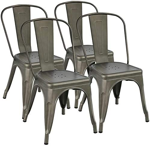 YAHEETECH Metal Dining Chairs Set of 4 Stackable Dining Room Chairs Side Chairs Patio Dining Chair