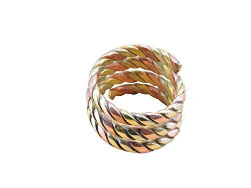 Handmade Tibetan Twisted Brass Spiral Ring From Nepal