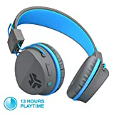 JLab Audio JBuddies Bluetooth Over-Ear Kids Headphones | Toddler Headphones | Kid Safe | Studio Volume Safe | Volume Limiter | Folding | Adjustable | Noise Isolation | with Mic | Graphite/Blue