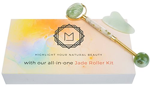 Jade Roller For Face, Gua Sha Slimming Anti Aging Eye Roller And Massage Tool Set- Premium 100% Authentic Jade Facial Roller Set Bundle, Double Neck Slimming Massager Jade ()