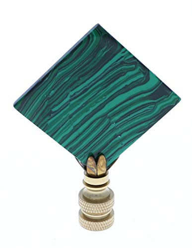 Art Finials - Square Green Malachite w/brass base, Set of 2