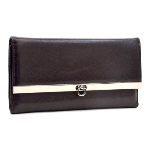 Plain Textured Leather Like Fold Over Flap With Flip Clasp Checkbook Wallet Coffee
