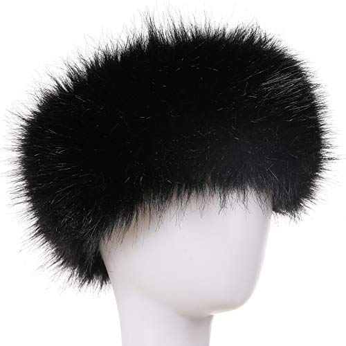 Dikoaina Womens Faux Fur Headband Winter Earwarmer Earmuff Hat Ski (Black)