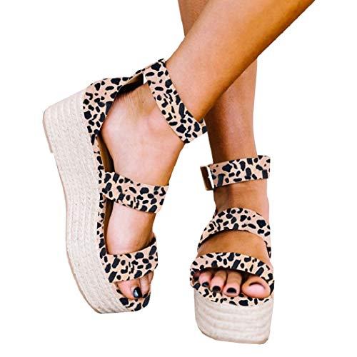 (Liyuandian Womens Open Toe Espadrille Ankle Strap Boho Lace Up Rivet Flatform Sandals (36 EU-9.53in(Foot Length)-5 US, D Leopard Print))