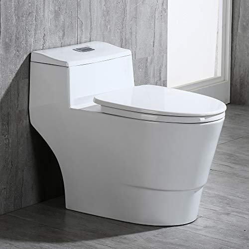 WOODBRIDGE B0735 B-0735 T-0018, Dual Flush Elongated One Piece Toilet with Soft Closing Seat, Comfort Height, White, Deluxe