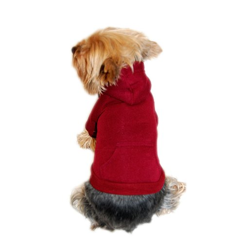 Anima Burgundy Pullover Drawstring Hoodie Sweatshirt, - Hem Furry Knit