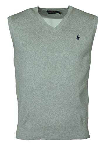 (Polo Ralph Lauren Men's Pima Cotton Sweater Vest (L, Stone Grey))