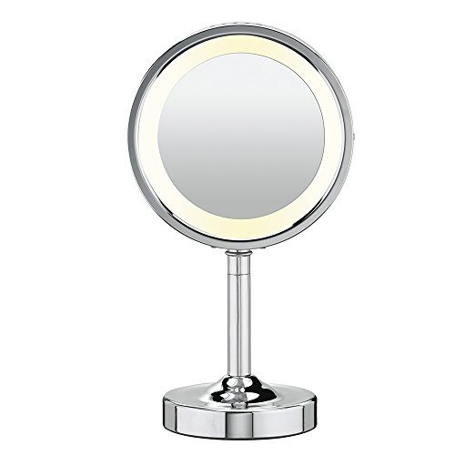 Conair Double-Sided Lighted Makeup Mirror - Lighted Makeup Mirror; 1x/5x magnification; Polished Chrome Finish (Pedestal Makeup Mirror)