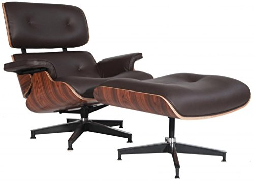 Modern Sources - Mid-Century Plywood Lounge Chair & Ottoman Eames Replica Brown Palisander Real Premium ()