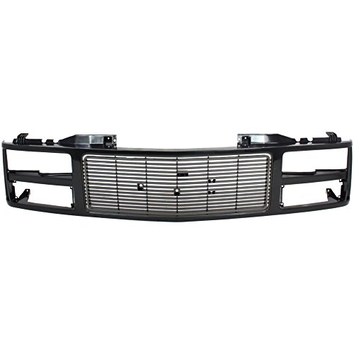 Grille for GMC C/K Full Size Pickup 88-93 Painted-Black W/Dual Headlight Holes