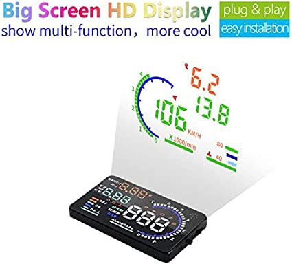 "A8 5.5/"" Car HUD Head Up Display OBDII OBD2 Speed Warning System Fuel Consumption"