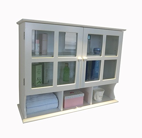 white wall cabinet with glass - 5
