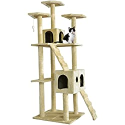 "Gansup 49"" 73"" Cat Tree Scratcher Play House Condo Furniture Bed Post Pet House Color Beige"