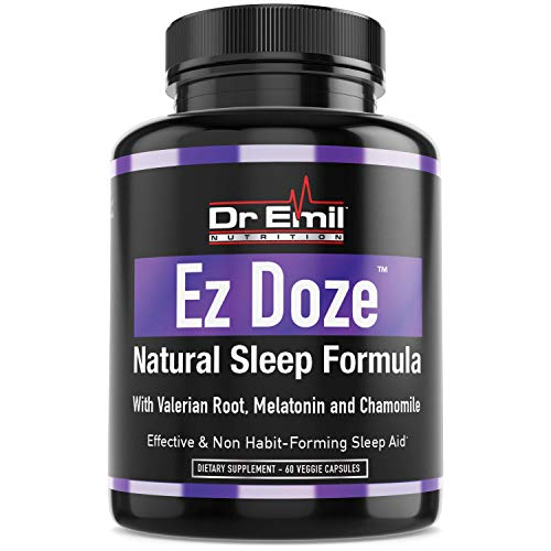Dr. Emil - Natural Sleep Aid with Valerian Root, Melatonin, Chamomile & More - Extra Strength Sleeping Pills for Adults - Safe & Non-Habit Forming (60 Veggie Capsules)