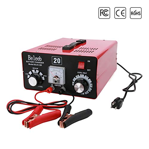 Beleeb Automatic Battery Charger 12V / 24V/ 36V / 48V / 60V / 72V Trickle Charger Desulfator for Golf Cart Motorcycles Car Truck Lawn Mower SUV RV ATV - Voltage Current Adjustable (20A Rated) ()