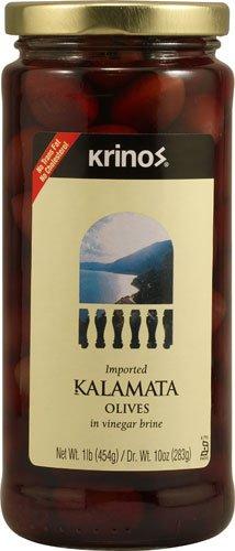 (Krinos Imported Kalamata Olives in Vinegar Brine -- 1 lb - 2PC)